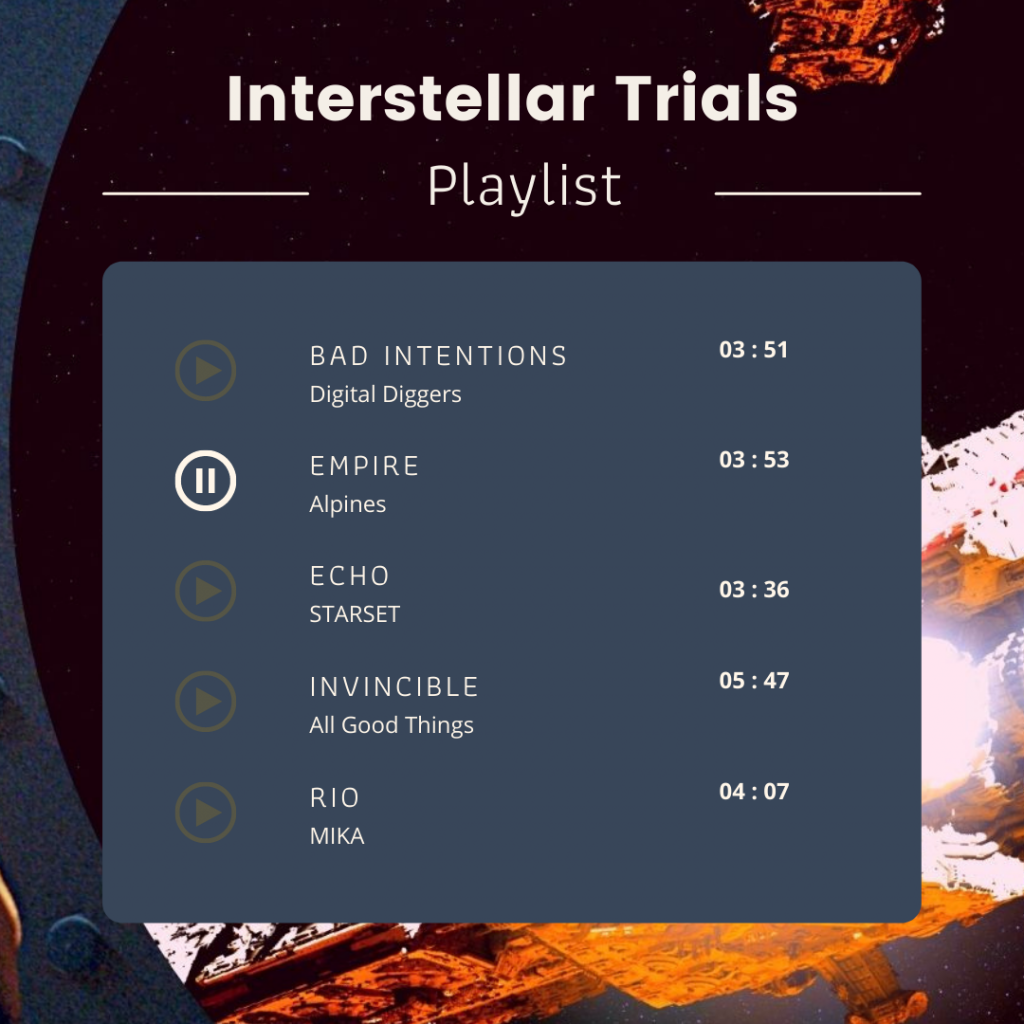 Playlist image. Bad Intentions by Digital Diggers, Empire by Alpines, Echo by STARSET, Invincible by All Good Things, Rio by MIKA