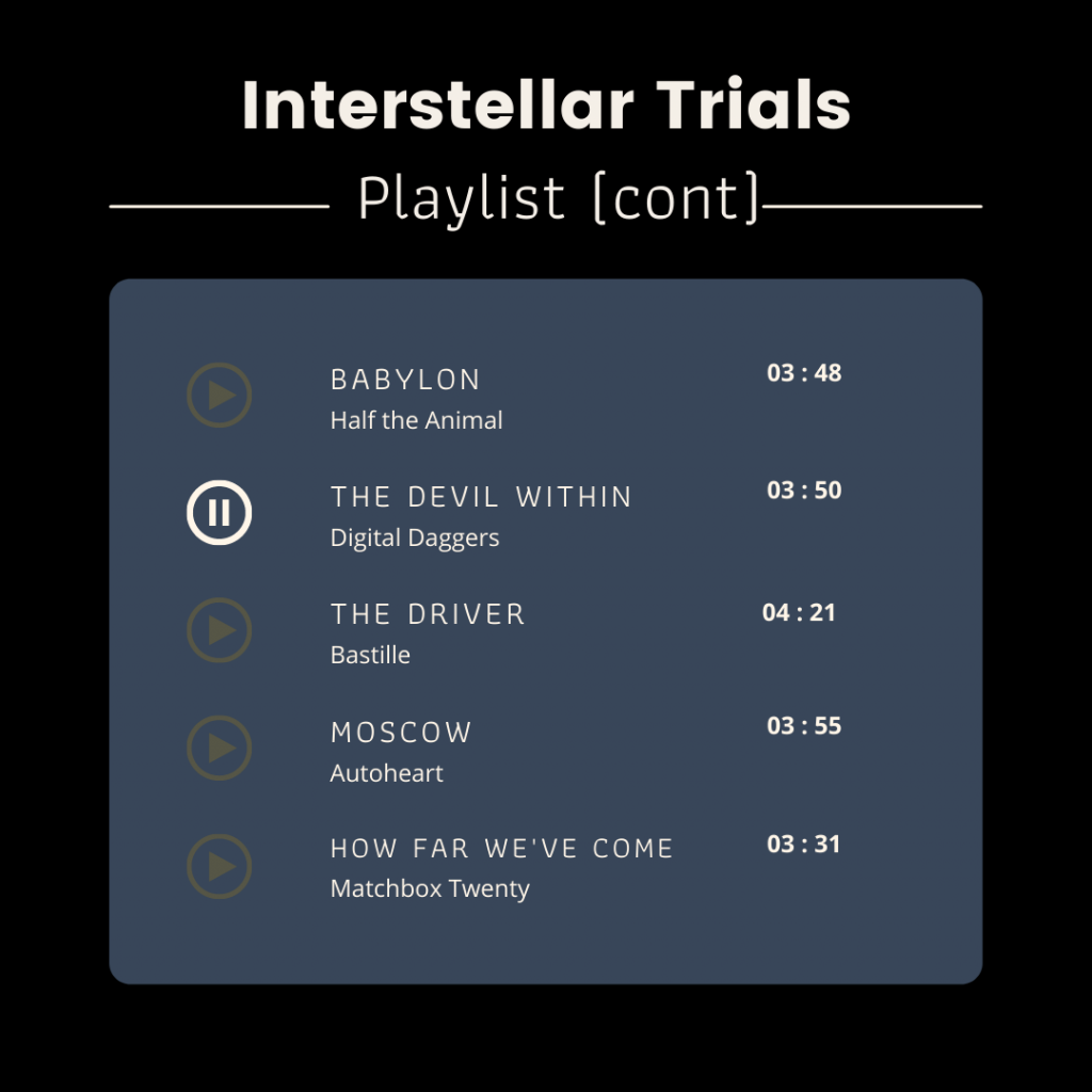 Playlist page 2. Babylon by Half the Animal, The Devil Within by Digital Daggers, The Driver by Bastille, Moscow by Autoheart, How Far We've Come by Matchbox Twenty